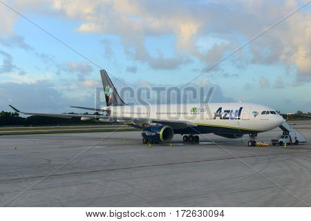 Fort Lauderdale, FL, USA - JAN. 4, 2015: Azul Brazilian Airlines A330-243 at Fort Lauderdale - Hollywood International Airport, Fort Lauderdale, Florida, USA.