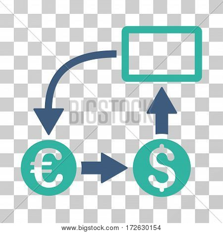 Cashflow Euro Exchange icon. Vector illustration style is flat iconic bicolor symbol cobalt and cyan colors transparent background. Designed for web and software interfaces.