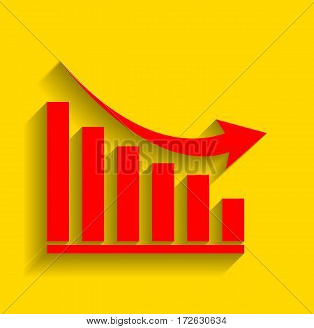 Declining graph sign. Vector. Red icon with soft shadow on golden background.
