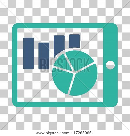 Charts On PDA icon. Vector illustration style is flat iconic bicolor symbol cobalt and cyan colors transparent background. Designed for web and software interfaces.