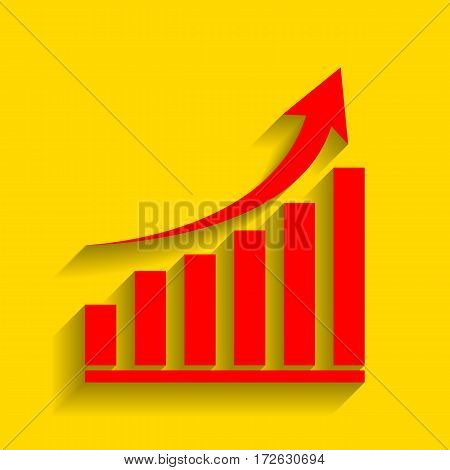 Growing graph sign. Vector. Red icon with soft shadow on golden background.