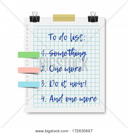 To do list on checked notepad paper sheet with paper clip and tape, planning and organizing a schedule. Realistic vector illustration isolated on white background.