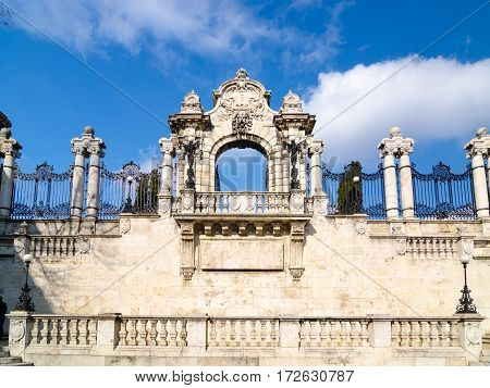 The entrance gate to the Buda Castle is the historical castle and palace complex of the Hungarian kings in Budapest. Hungary