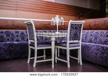 Modern Restaurant In Purple Color