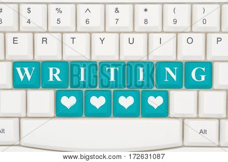 Love writing on the internet A close-up of a keyboard with teal highlighted text Writing and hearts