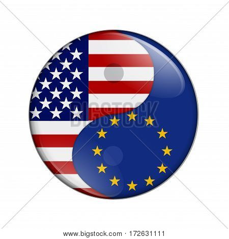 USA and EU working together The US flag and EU flag on a yin yang symbol isolated over white 3D Illustration