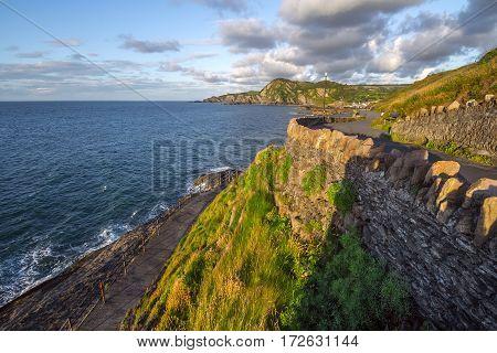 Walking trail around the hill with a magnificent view of the sea. Windy corner. Capstone Hill. North Devon coast. Ilfracombe. UK