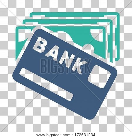 Credit Money icon. Vector illustration style is flat iconic bicolor symbol cobalt and cyan colors transparent background. Designed for web and software interfaces.