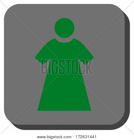 Woman square button. Vector pictogram style is a flat symbol in a rounded square button green and gray colors.