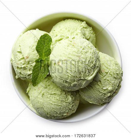Bowl Of Pistachio Ice Cream