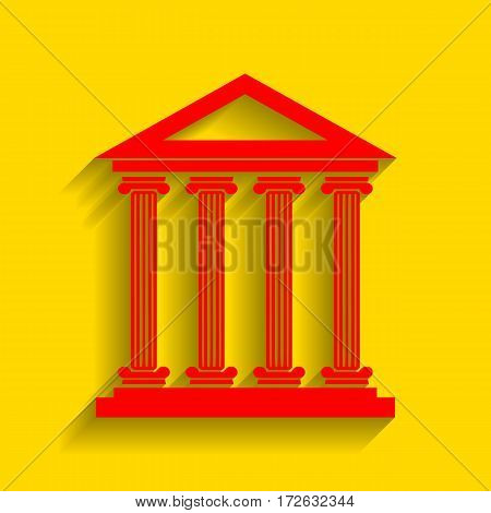 Historical building illustration. Vector. Red icon with soft shadow on golden background.