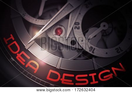 Old Wristwatch with Idea Design Inscription on Face. Idea Design on the Elegant Wristwatch Detail, Chronograph Closeup. Work Concept Illustration with Glow Effect and Lens Flare. 3D Rendering.