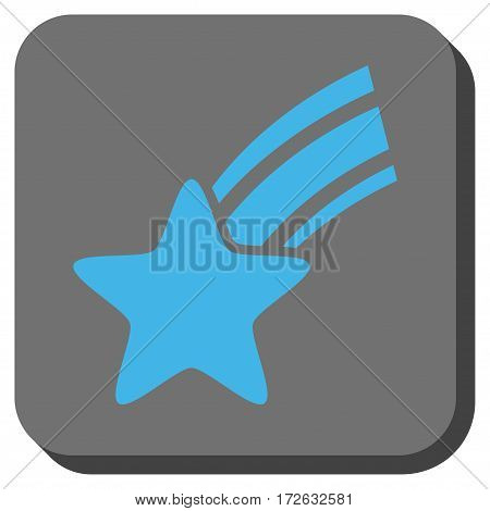 Falling Star interface button. Vector pictogram style is a flat symbol inside a rounded square button light blue and gray colors.