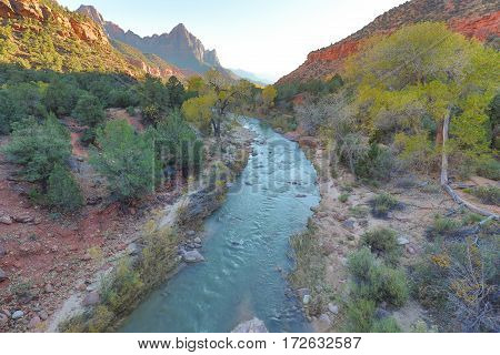 a scenic landscape along the virgin river in Zion national park utah in fall