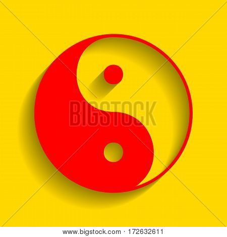 Ying yang symbol of harmony and balance. Vector. Red icon with soft shadow on golden background.