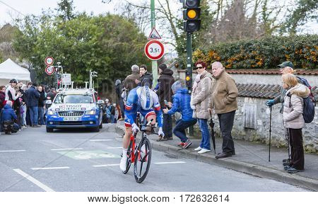 Conflans-Sainte-HonorineFrance-March 62016: The Norwegian cyclist Daniel Hoelgaard of FDJ Team riding during the prologue stage of Paris-Nice 2016.