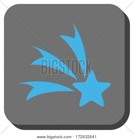 Falling Star interface toolbar button. Vector pictogram style is a flat symbol centered in a rounded square button light blue and gray colors.