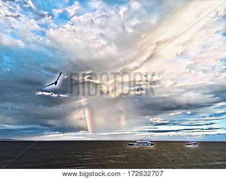 Seagull and rainbow on sunset sky. Sea landscape with sea bird. Boat in the sea. Rainbow over sea. Tropic sea view with cloudy sky. Sea artwork digital illustration. Seascape image with text place