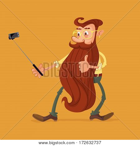 young bearded man holding selfie stick mobile phone shooting self portrait photo
