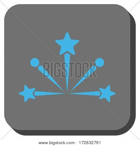 Fireworks Bang toolbar icon. Vector pictogram style is a flat symbol on a rounded square button light blue and gray colors.