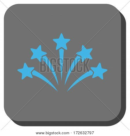 Fireworks Burst square button. Vector pictogram style is a flat symbol centered in a rounded square button light blue and gray colors.