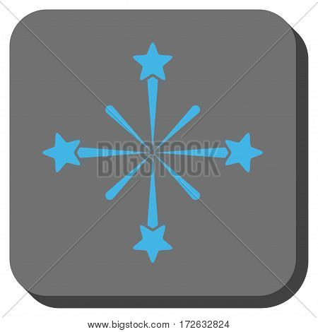 Fireworks square icon. Vector pictogram style is a flat symbol in a rounded square button light blue and gray colors.