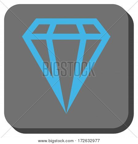 Gem interface toolbar icon. Vector pictogram style is a flat symbol on a rounded square button light blue and gray colors.
