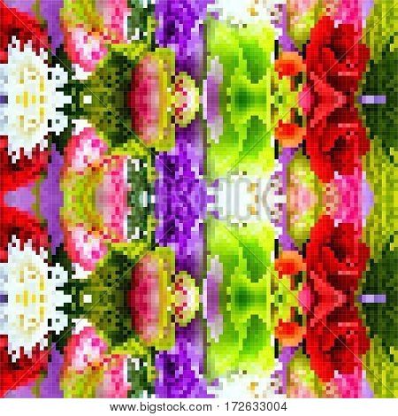 Abstract Colorful Background floral pattern with red pink purple and white color flowers and green leaf plastic pixel art design