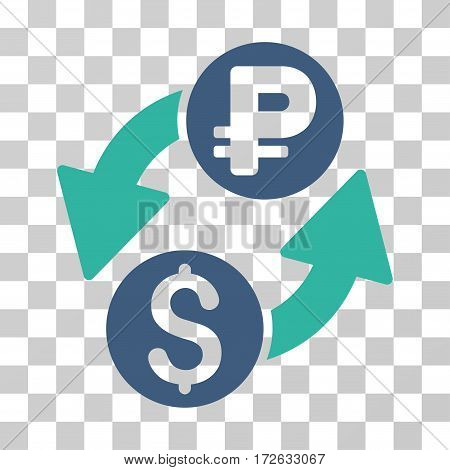 Dollar Rouble Exchange icon. Vector illustration style is flat iconic bicolor symbol cobalt and cyan colors transparent background. Designed for web and software interfaces.