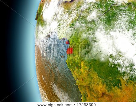 Equatorial Guinea On Planet Earth From Space
