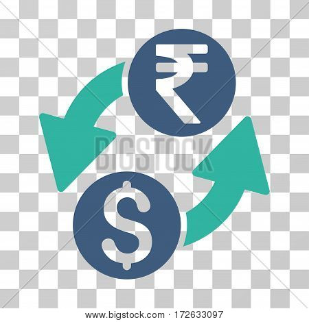 Dollar Rupee Exchange icon. Vector illustration style is flat iconic bicolor symbol cobalt and cyan colors transparent background. Designed for web and software interfaces.