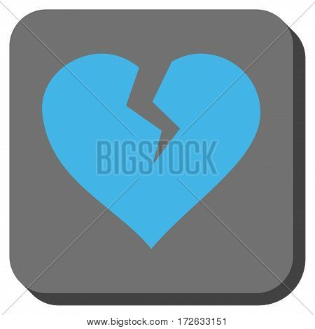 Heart Break interface button. Vector pictograph style is a flat symbol in a rounded square button light blue and gray colors.