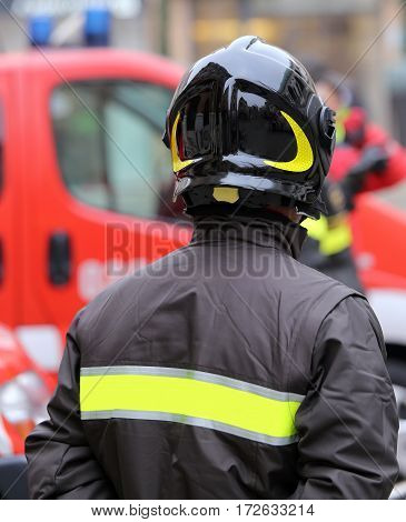 Firefighter With Hardhat During Outdoor Exercise