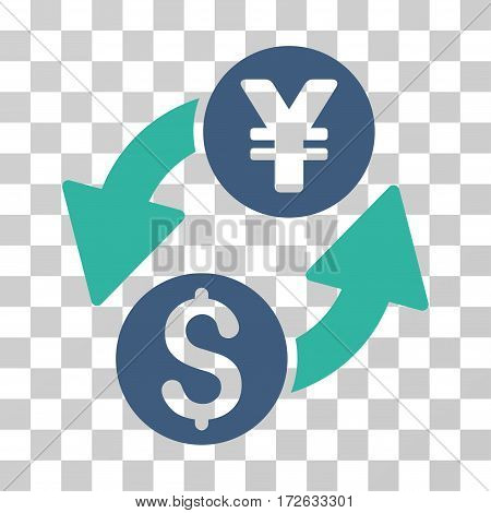 Dollar Yen Exchange icon. Vector illustration style is flat iconic bicolor symbol cobalt and cyan colors transparent background. Designed for web and software interfaces.