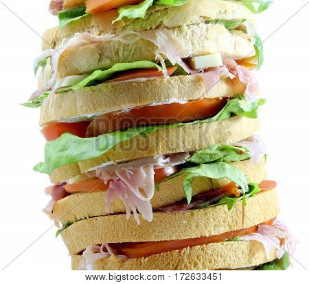 Sandwich With Cheese And Ham And Tomato And Mayonnaise On A Wood