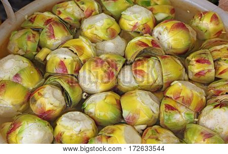 Clean Bottoms Of Artichokes Prepared By The Cook In The Water