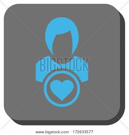 Lady Love square button. Vector pictogram style is a flat symbol in a rounded square button light blue and gray colors.