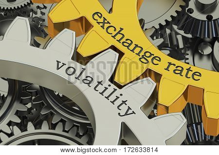 exchange rate volatility concept on the gearwheels 3D rendering