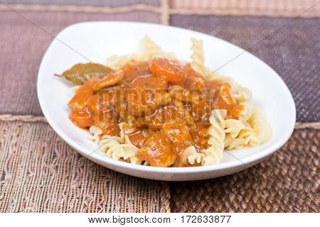 Pork Goulash Served On The Plate With Pasta