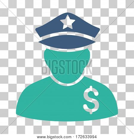 Financial Policeman icon. Vector illustration style is flat iconic bicolor symbol cobalt and cyan colors transparent background. Designed for web and software interfaces.