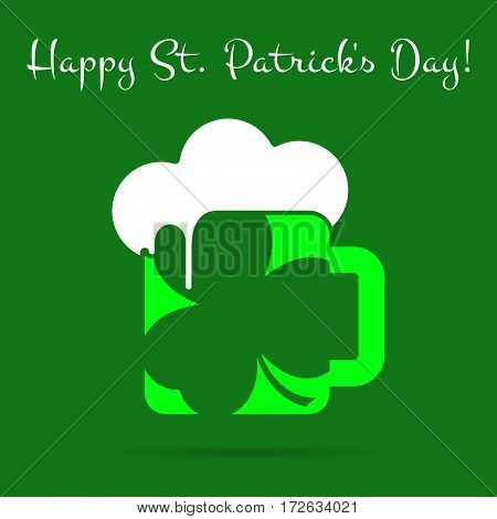 Saint Patricks Day square greeting card - light green glass of beer with clover white froth and text in front of a dark green background