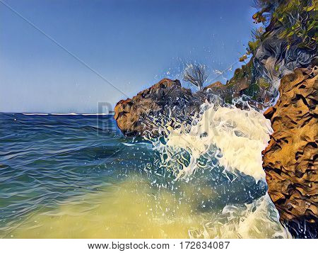 Seaside view with huge rocks and a wave. Seawater splashes over stones. Hidden beach landscape. Seascape with big wave. Dangerous wave hit beach stone. High tide wave. Banner template with text place