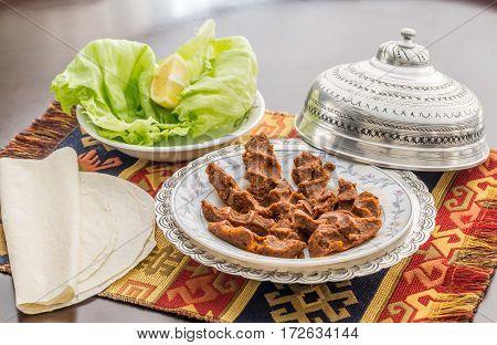 Cigkofte turkish meatball from bulgur side view