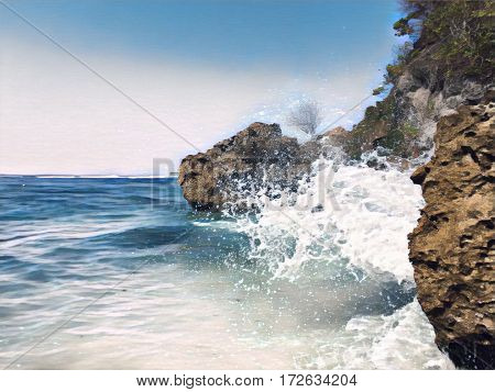 Seaside view with huge rocks and a wave. Seawater splashes over stones. Hidden beach landscape. Seascape with big wave. Dangerous wave hit beach. High tide wave. Tropic sea retro image with text place