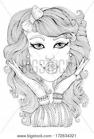 Vector hand drawn portrait of retro woman hand gesture shows surprise shock. Pattern for coloring page A4 size. Ornament coloring book for adults.