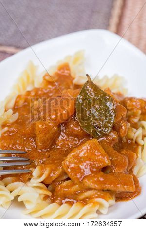Closeup Macro Served Pork Goulash On The Plate