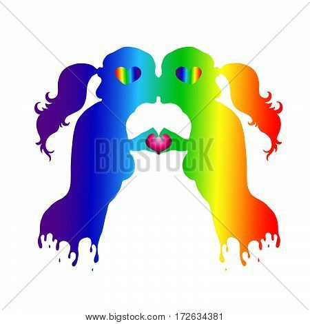 Vector drawing love kissing pair of girl lesbian, painted in the colors of the gay flag.Two human hands gesture representing the heart shape. Colorful silhouette of a loving couple on Valentine's Day