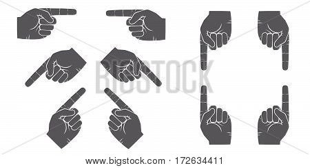 forefinger hands vector set. Grey hands pointing with a finger in different directions.