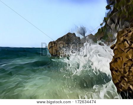 Seaside view with huge rocks and a wave. Seawater splashes over stones. Hidden beach landscape. Seascape with big wave. Dangerous wave hit beach stone. High tide wave.