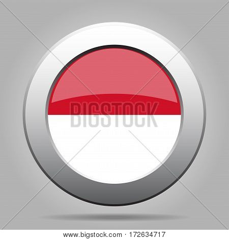 National flag of Indonesia. Shiny metal gray round button with shadow.